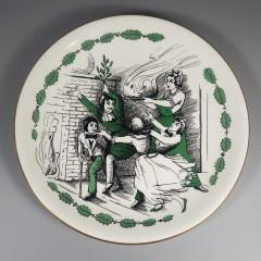 1961 Shenango China Here Comes The Plum Pudding Christmas Carol Plate
