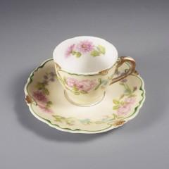 Antique C Ahrenfeldt Limoges Porcelain Demitasse Cup and Saucer Set