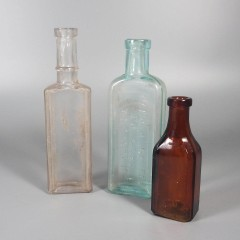 Lot 3 Antique Glass Medicine Bottles Burnett Boston & National Remedy