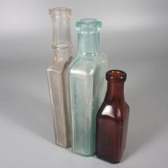 Lot 3 Antique Glass Medicine Bottles Burnett Boston & National Remedy