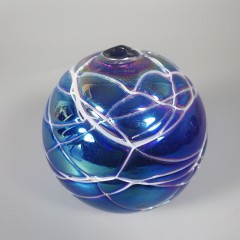 Threaded Iridescent Cobalt Blue Carnival Levay Intaglio Art Glass Oil Lamp