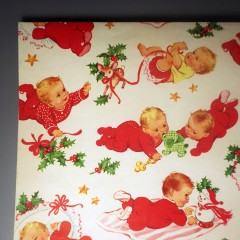 Vintage Norcross Christmas Babies Gift Wrap Wrapping Paper