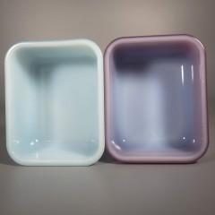Vintage Jeannette Glasbake 1 Pint Refrigerator Dish Pr - Blue Burgundy