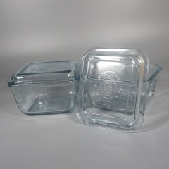 Vintage Fire King Sapphire Blue Philbe Refrigerator Jar + Lid Cover Pair