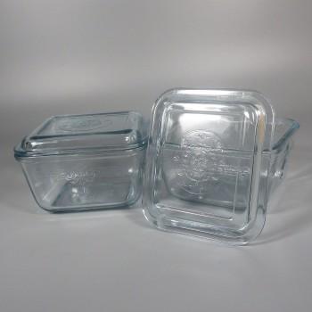 Vintage Fire King Sapphire Blue Philbe Refrigerator Jar + Lid Cover Pair