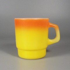 Anchor Hocking Fire King Orange Yellow Ombre Stackable Coffee Mug Cup