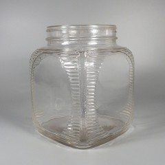 Large Vintage Owens Illinois Glass Hoosier Counter Jar Ribbed Corners