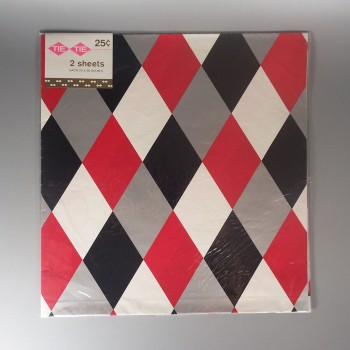 Vintage Tie Tie Harlequin Diamond Wrapping Paper - Red Gray Black White