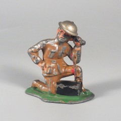 Vintage Barclay Lead Toy Soldier Kneeling Radio Operator