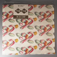 Vintage Christmas Candy Gift Wrapping Paper 1960 Tie Tie