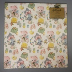 Vintage Hallmark Plush Toy Baby Gift Wrapping Paper in Pink and Blue