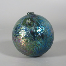 Signed Levi Levay Intaglio Art Glass Witch Ball - Fenton Favrene Cullet