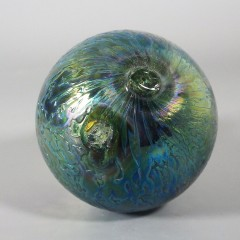 Signed Levi Levay Intaglio Art Glass Witch Ball - Fenton Favrene Cullet