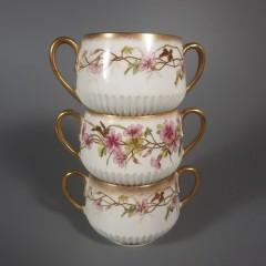 George Jones Crescent HP Pink Flowers Bouillon Soup Cup Saucer Sets