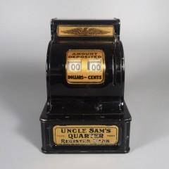 1940s Uncle Sam Quarter Register Bank - HTF Single Coin Top Slot