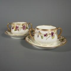 George Jones Crescent HP Purple Violet Flowers Bouillon Soup Cup Saucer Sets