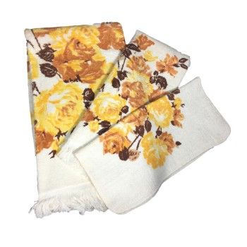 Vintage Sears Roebuck Rose Towel 3-Pc Set Unused - Yellow Brown Roses