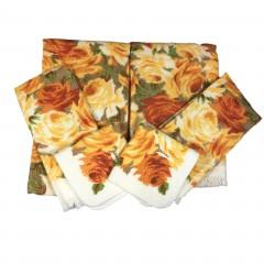 Vintage 6-Pc NOS Dundee Bath Towel Set - Yellow Orange Roses