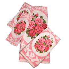 Vintage Pink Royal Rose Bath Towel Set - 4-Pc Set