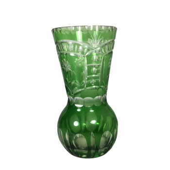 Vintage Green Cut to Clear Art Glass Vase - Tapered Top Etched Floral