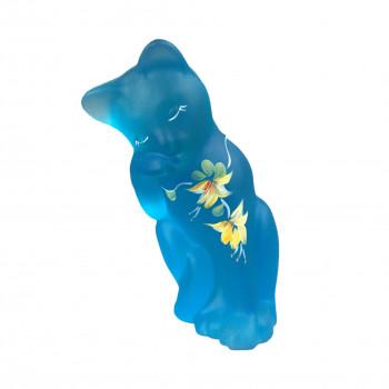 Lenox Fenton Glass Celeste Little Blue Cat 2005 Signed P Lemon + Certificate