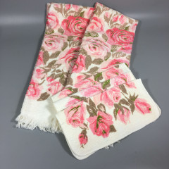 5-Pc Vintage Pink Roses Bath Towel and Washcloth Set - Cannon All Cotton