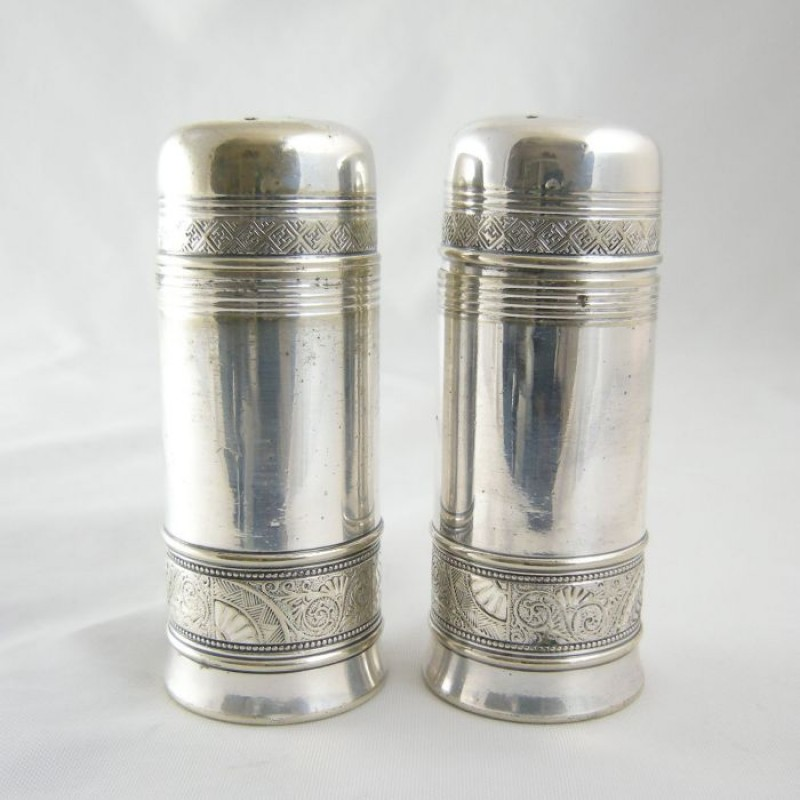 1880s Gorham Aesthetic Silver Salt Pepper Shaker Set