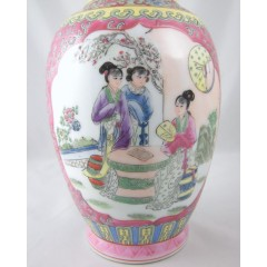 Chinese Porcelain Famille Rose Vase - Female Figures in Court Scene