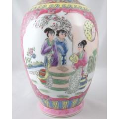 Chinese Porcelain Famille Rose Vase - Female Figures in Court Scene