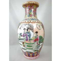 Chinese Porcelain Figural Vase - Female Figures in Court Scene