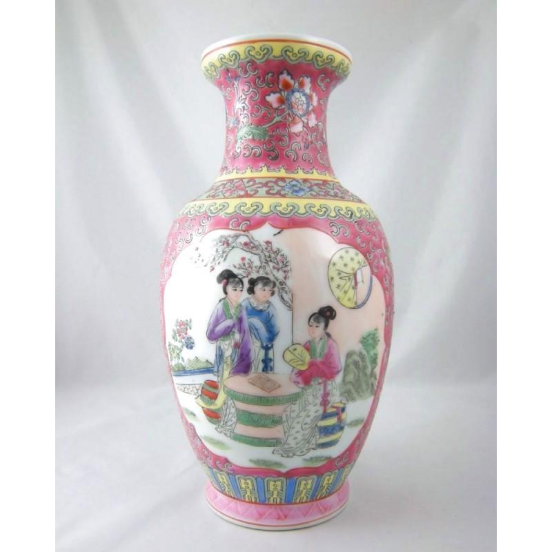 Chinese Porcelain Famille Rose Figural Baluster Vase 1970s