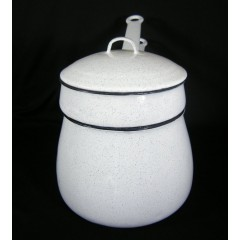 Old Speckled White Graniteware Enamel Ware Double Boiler