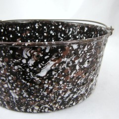 Brown and White Spatter Graniteware Enamel Drain Pan Bucket