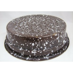Large Brown and White Spatter Graniteware Enamel Drainer Pan