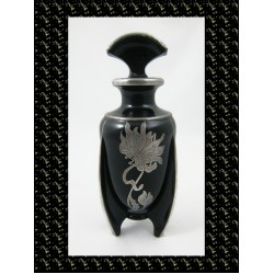 Black Duncan Miller Glass Rocket Perfume Bottle with Silver Overlay