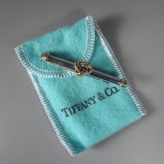 Vintage Tiffany & Co Sterling Silver & 18k Gold Classic Knot Tie Clip