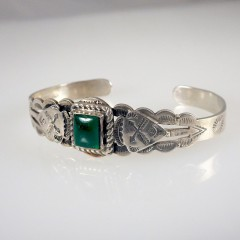 Vintage Maisels Sterling Silver Cuff Bracelet with Green Turquoise