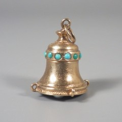 Jeweled Vintage Bell 14k Gold Charm with Turquoise Beads Pearl Clapper