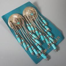 Vintage Turquoise Bead Tassel Fringe Earrings - Native American Concho