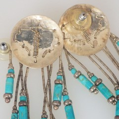 Vintage Turquoise Bead Tassel Fringe Earrings - Native American Concho