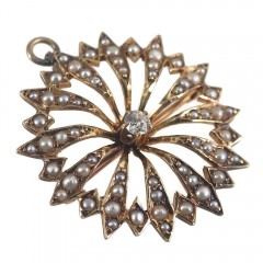 Starburst Antique Victorian Brooch Pin Pendant 14k Gold Diamond Pearls