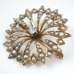 Starburst Antique Victorian Brooch Pin Pendant 14k Gold Diamond Pearls