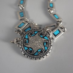 Vintage Mexican Sterling Silver Aztec Mayan Sun God Link Necklace