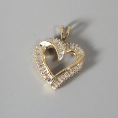 Vintage 14k Gold Diamond Heart Pendant with Baguette Diamonds