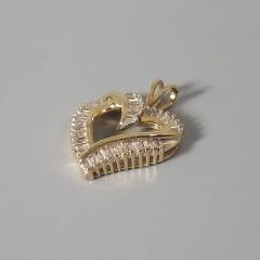 Vintage 14k Gold Diamond Heart Pendant with Baguette Diamonds