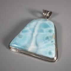 Vintage Pectolite Larimar Pendant Sterling Silver - Large Bell Shape