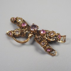 Dragonfly West Germany Vintage Pin with Rhinestone Filigree Wings