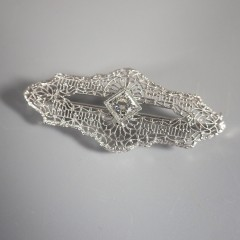 Antique Art Deco Diamond Brooch Pin 14k White Gold Platinum Filigree