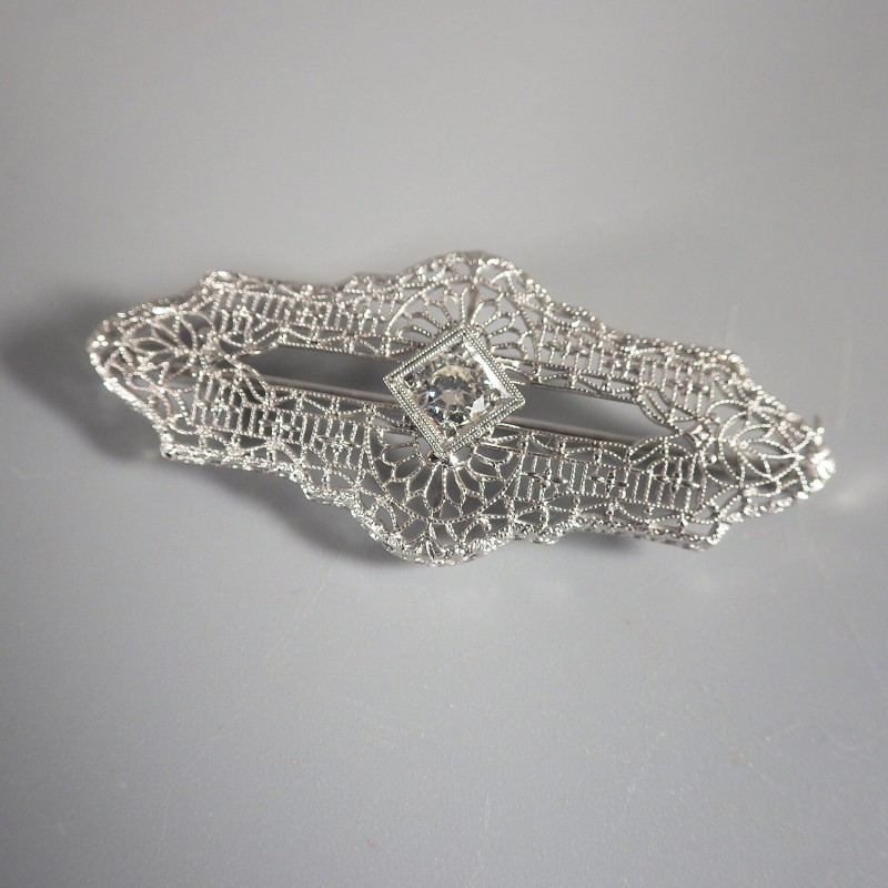 Art Deco Antique Circa 1920 Art Deco Diamond 14k White Gold Pin Broach Rare Vintage Fine Pins & Brooches