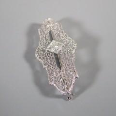 Antique Art Deco Diamond Brooch Pin 14k White Gold Platinum Filigree